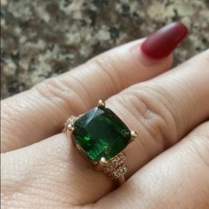 Rose Gold Emerald Green Sapphire White Ring 5